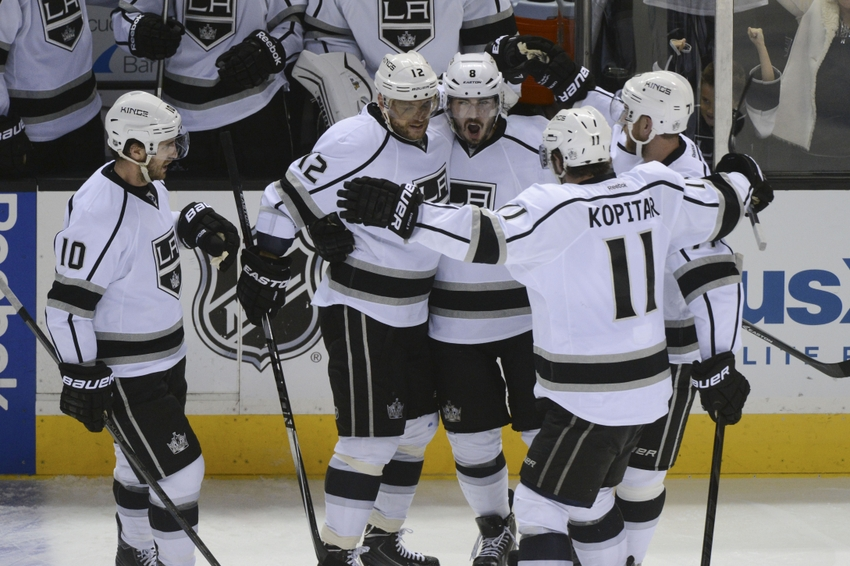Apr 30 2014 San Jose CA USA Los Angeles Kings Defenseman Drew Doughty 8 Is Congratulated After Scoring A Goal Against The Sharks During